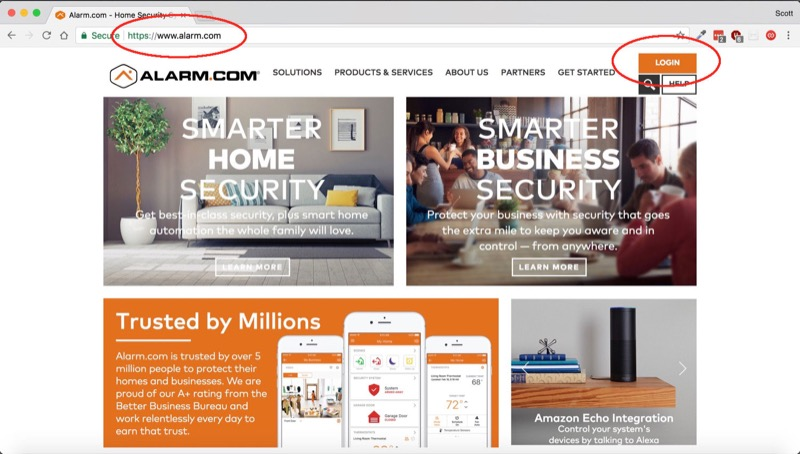 Log in to Alarm.com