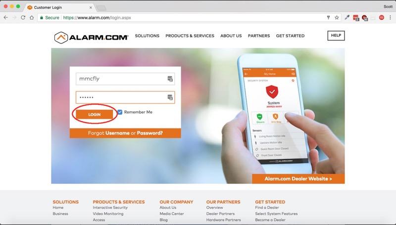 2. Alarm.com Web Login