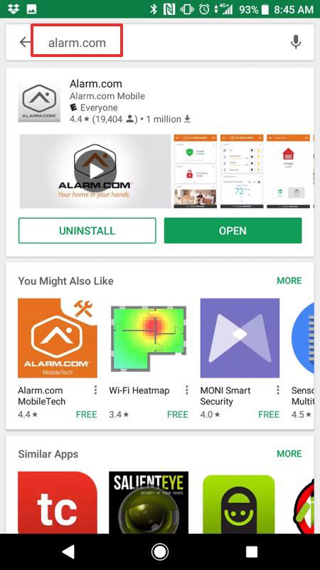 Alarm.com Mobile App Step 0