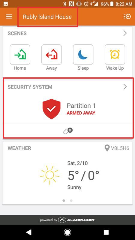 Alarm.com Status and System Name